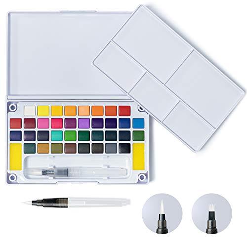 Watercolor Paint Set, 36 Vivid Colors 2 Brushes Detachable Palette in Foldable Box for Kids Adults Beginners DAPAWIN Watercolor Set School Supplies