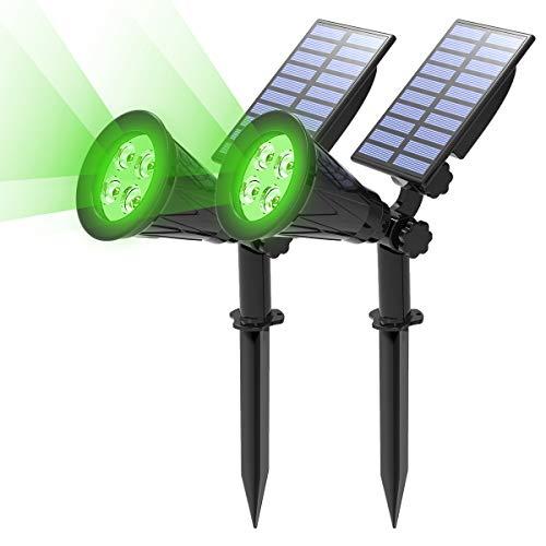 (2 Unidades) T-SUN Foco Solar, Impermeable Luces Solares Exterior, 2 Modos de Iluminación Opcionales, ángulo de 180° Ajustable, Luz de Jardín para Entrada, Entrada, Camino. (Verde)