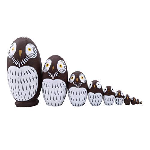 GOMYIE Niedliche lebendige Eule handgefertigte russische Nesting Dolls Matroschka Holzpuppen Set 10 Stück für Kinder Spielzeug Geburtstag Dekoration