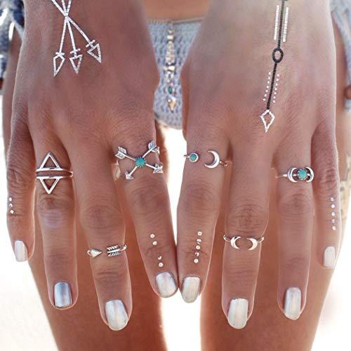 Mayelia Juego de anillos de plata bohemios con diseño de luna, turquesa, para mujeres y niñas (paquete de 6)