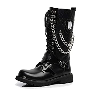 Tebapi Mens Backpacking Boots Army Boots Men High Military Combat Men Boots Mid Calf Metal Chain Male Motorcycle Punk Boots Spring Men s Shoes Rock Black 9.5