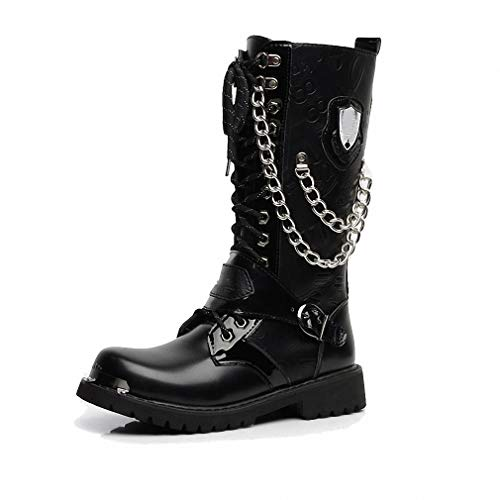 Tebapi Mens Backpacking Boots Army Boots Men High Military Combat Men Boots Mid Calf Metal Chain Male Motorcycle Punk Boots Spring Men's Shoes Rock Black 10