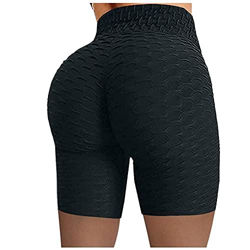LJLLINGC Pantalones Cortos de Yoga de Cintura Alta sin Costuras hasta la Cadera Pantalones Cortos Deportivos elásticos Ajustados Push Up Running Fitness Gym Ropa Leggings Mujeres