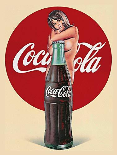 Coca Cola Girl Póster de Pared Metal Creativo Placa Decorativa Cartel de Chapa Placas Vintage Decoración Pared Arte Muestra para Bar Club Café
