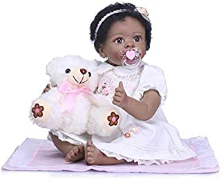 iCradle 22inch 55cm Reborn Baby Dolls Silicone Black India Style Dolls Toys for Children Birthday Gifts Handmade Toddler +White Dress