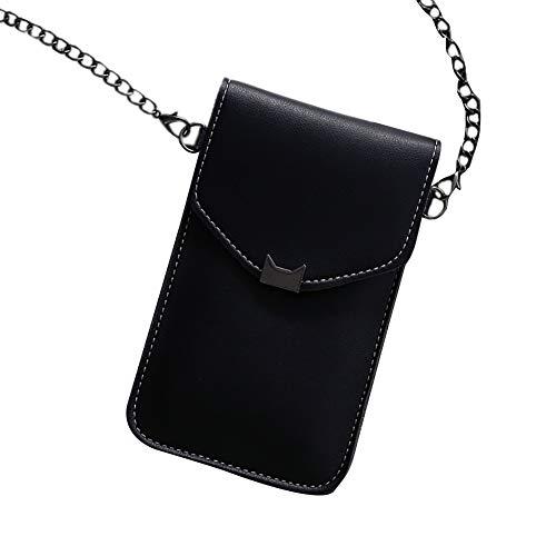 MINASAN Touchscreen-Handytasche,Chain Phone Bag Klare Transparente Fenster BerüHrt Bildschirm Crossbody Mobile Phone Bag,Damen Tasche (Schwarz, Einheitsgröße)