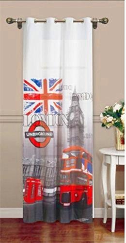 Tenda per Interni ad Occhielli Mod. LONDON,Stampa Digitale - Mis. 140 x 280 cm