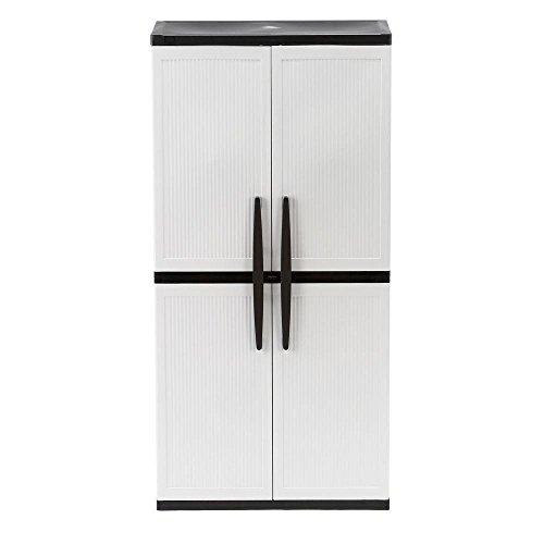 hdx storage cabinets HDX 35 in. W 4-Shelf Plastic Multi-Purpose Tall Cabinet in Gray