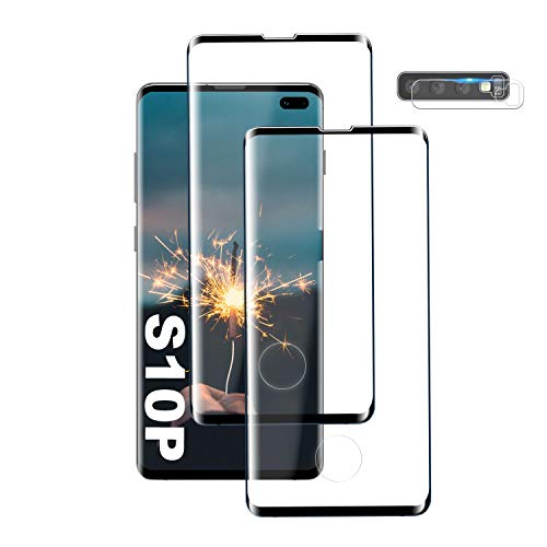 Galaxy S10 Plus Screen Protector, [2 Pack] Premium 3D Tempered Glass [Support Fingerprint Sensor] [9H Hardness] [Case Friendly] for Samsung Galaxy S10 Plus