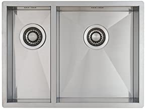 Anderhalve Spoelbak Keuken 59 cm Onderbouw/Vlakbouw - Moderne Keuken Spoelbak MIZZO Quadro - RVS Spoelunit