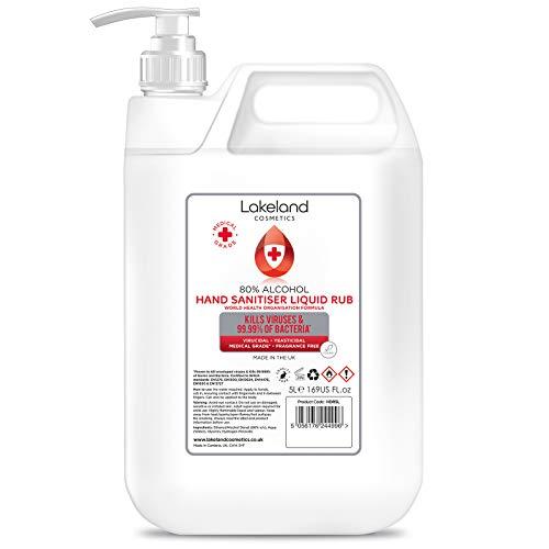 Hospital Grade Hand Sanitiser Liquid rubbing alcohol (5 Litre) by Lakeland Cosmetics. Made with 80% Pharma Grade Alcohol, Kills 99.999% of viruses & bacteria, bulk hand sanitizer 5ltr refills (Single)