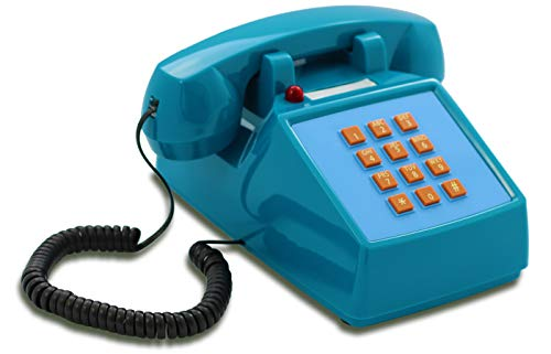 OPIS PushMeFon Cable: 1970er Retro-Tastentelefon mit klassischer Metallklingel (hellblau)