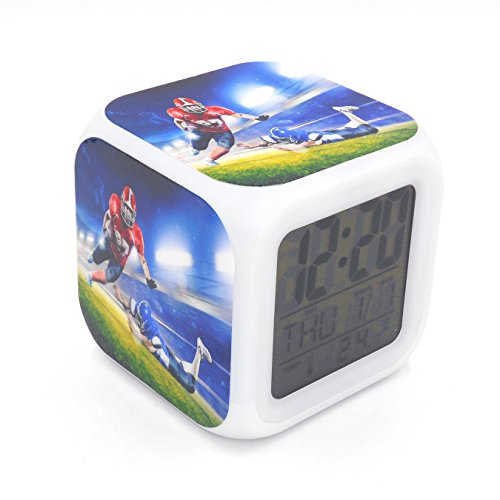 BoFy Led Alarm Clock American Football Tounchdown Sports Pattern Personality Creative Noiseless Multi-Functional Electronic Desk Table Digital Alarm Clock for Unisex Adults Kids Toy Gift