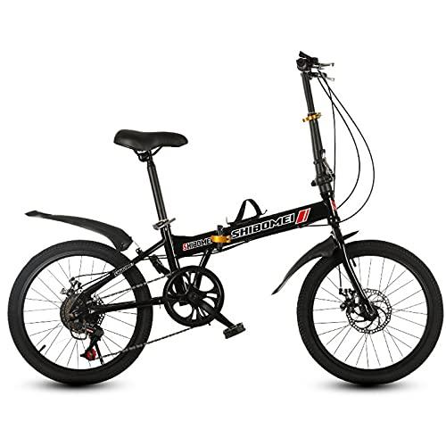 Bicicleta Plegable para Hombres Y Mujeres, Engranajes De 7 Velocidades, Trabajo Ligero, Velocidad Variable, Frenos De Disco Dobles, Bicicleta Plegable De 20 Pulgadas, Bicicleta Plegable para Ciudad