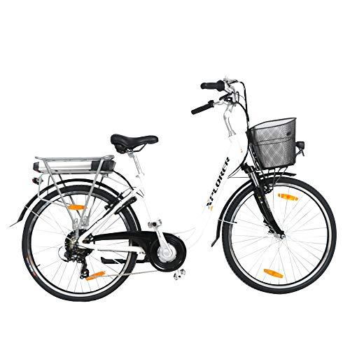 City Flow, 26 Pulgadas, Bicicleta Eléctrica para Adultos, E-Bike con Motor 250W BAFANG, Batteria 36V 13AH, con Freno a V TEKTRO, Palanca de Cambios Shimano Tourney 7 Speed