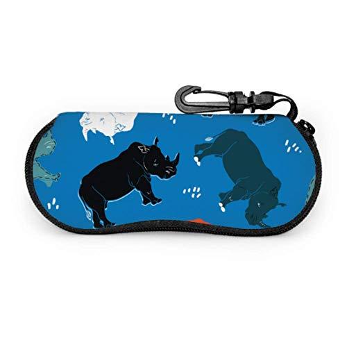 JEOLVP Estuche de gafas de gafas de rinoceronte de músculo fuerte Estuche para gafas Estuche de cremallera de neopreno portátil ligero Estuche blando Estuche de gafas con cremallera