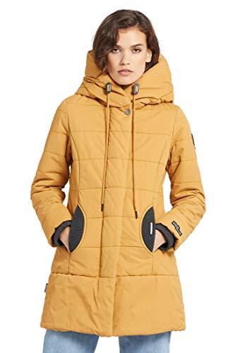 khujo Abrigo de mujer Sherma con cordón en la capucha, abrigo acolchado con detalles de punto amarillo mostaza XXL