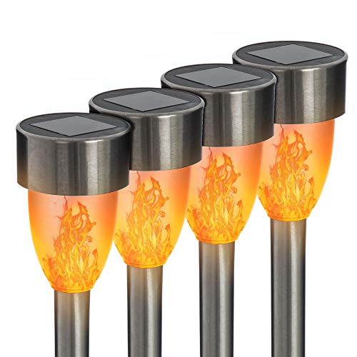 FiNeWaY 4pk Solar Dancing LED Light Flickering Flames Stainless Steel Post Garden Bollard Lights – Waterproof Outdoor Decoration Lamp – Pathway Driveway Patio Decking