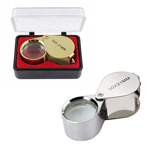 2 Stück Einschlaglupe, Lupe 30-fache Vergrößerungsglas mit Schutzbox Metall Lupe 21-mm Glaslinse für Juwelier Schmuck Uhrmacher Zeitung Lesen (Silber und Gold)