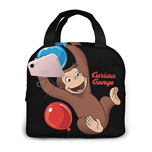 Chaxiedou Curious George Lunch Bag Tote Insulated Cooler Box For Travel/Picnic/Work/School
