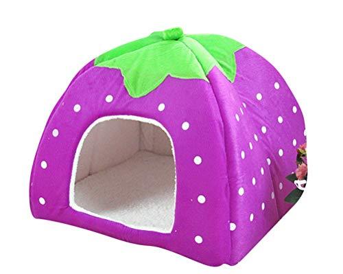 GUOCU Rote Erdbeere Haustierhaus Luxuriöses Weich Schlafsack Hundehütte Katzenhöhle Hund Katze Haus für Kleine Hunde und Katzen Lila XXL