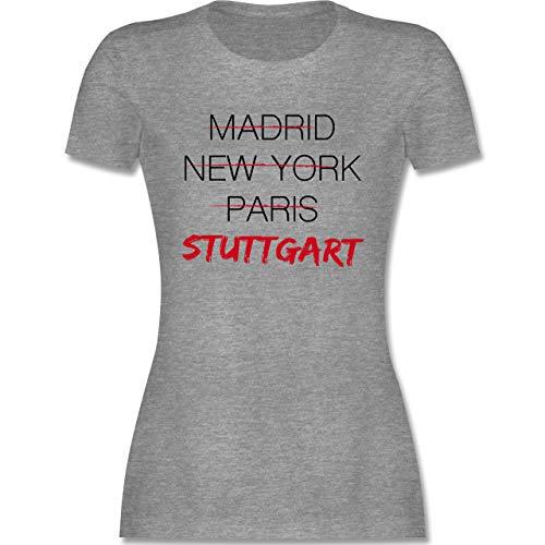 Städte - Weltstadt Stuttgart - M - Grau meliert - Stadt Stuttgart Tshirt - L191 - Tailliertes Tshirt für Damen und Frauen T-Shirt