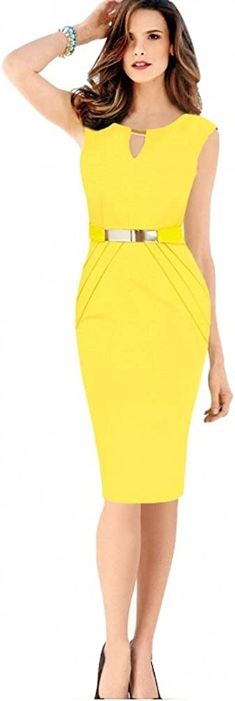 Free2mys Sleeveless Slim Bodycon Party Office Business Pencil Dresses