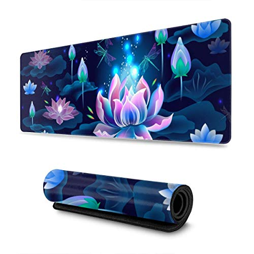 Lotus Flowers and Dragonflies Gaming Mouse Pad XL Extended Large Mouse Mat Desk Pad Stitched Edges Mousepad Long Non-Slip Rubber Base Mice Pad 31.5 X 11.8 Inch