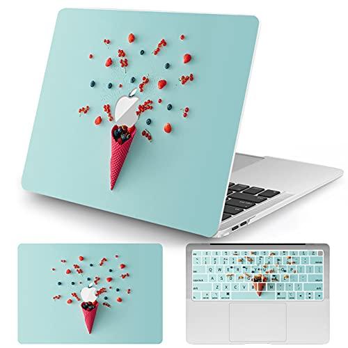 Vozehui Kompatibel med MacBook Air 13 tum 2018 Release A1932 plast laptop hårt skal fodral för glassmönster design med samma mönster tangentbord skydd för MacBook Air 13 tum 2018 – blåbär