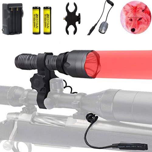 BESTSUN 3Pcs Red LED Hunting Light 350 Yards Predator Light Tactical Flashlight Kit with Scope Mount for Hog Coyote Pig Varmint Raccoons Coon Deer Night Hunting