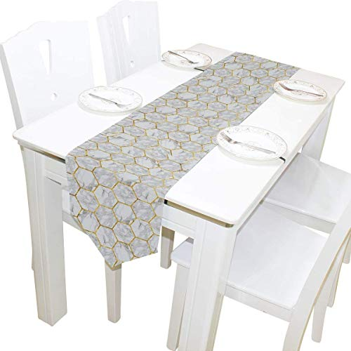 BONRI Double-Sided Marble Tiles Table Runner Long,Table Cloth Runner for Wedding Party Holiday Kitchen Dining Home Everyday Decor,13 * 90inch