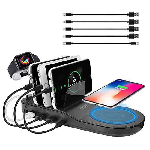 PRITEK Stazione di Ricarica con Porta USB di Ricarica Rapida da 18W, Pad di Ricarica Rapida Wireless Qi da 10W, Porta di Tipo C da 12W e 2 Porte USB Smart Ai da 12W per Dispositivi Multipli (Nero)