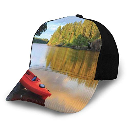 Printed Baseball Cap,Red Canoe Sitting On The Rocks At The Lake In Minnesota Autumn Nature Scenery,Hat for Men Women Teens
