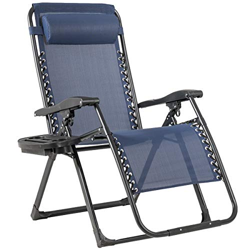 Goplus Zero Gravity Chair, 500-lb Capacity Oversized Recliner with Cup Holder, Breathable Fabric, Detachable Headrest, Heavy Duty Folding Chaise for Pool, Patio, Yard (Navy)