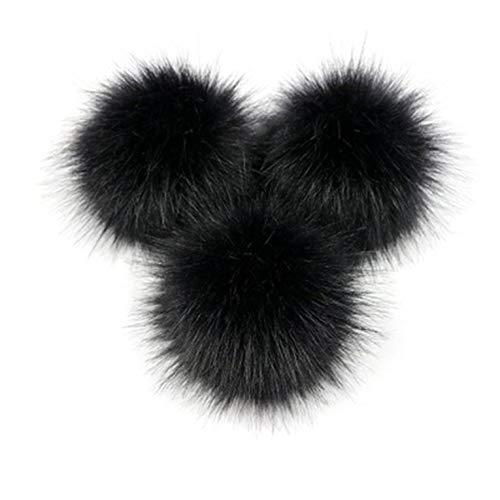 Goldyqin Niedlichen Fuchspelz Pompon abnehmbaren Fell Flauschigen Wackelball mit Druckknopf für DIY Hüte Caps Taschen Kleidung Schuhe Dekor - schwarz