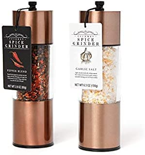 Extra Large Garlic Salt and Pepper Blend Copper Spice Grinders: A Great Copper Kitchen Accessory for the Home Chef who wants the Highest Quality and Best Ingredients