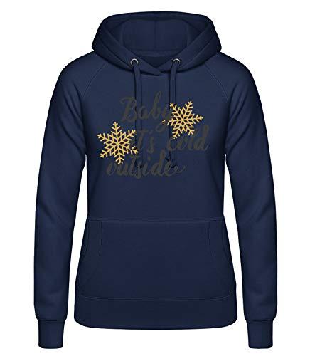 Shirtinator, Baby It's Cold Outside, Pullover Hoodie Damen, Geschenkideen Weihnachten Geburtstag, blau, XL