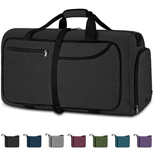 NEWHEY Foldable Travel Duffle Bags for Men Weekend Overnight Bag Sports Gym Bag with Shoe Compartment Folding Luggage Holdall Bag Water Resistant 100L Black