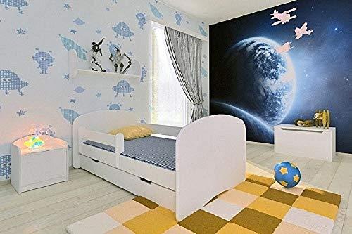 BellaLuni Kinderbett Jugendbett 70x140 Weiß mit Rausfallschutz Matratze Schublade und Lattenrost Kinderbetten für Mädchen und Junge