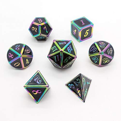 PYSDWE Dados poliédricos Conjunto de Dados poliédricos de Metal sólido de 7pcs para DND Dungeons y Pathfinder Llamada para la enseñanza de matemáticas ( Color : XCH )