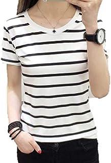 BloomTrade ボーダー Tシャツ 半袖 黒×白 シフォン