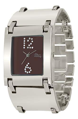 Moog Paris All in One Damen Uhr mit Braunem Zifferblatt, Swarovski Elements & Silbernem Armband aus Edelstahl - M46064-004