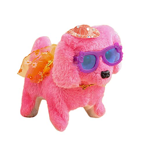 Electric Interactive Plush Dog Toys Animal Electronic Moving Battery Operated Pet Walking Interactive bedsleeping Entertainment Toys for Kids Children Toddlers Gift Party Pet Lover(Pink