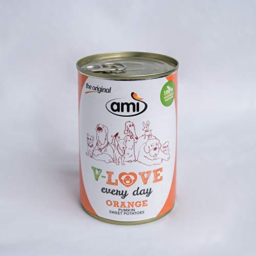 Ami ドッグフード缶(dog food) オレンジ(かぼちゃ・サツマイモ)ヴィーガン 400g アレルギーフリー 天然植物成分 防腐剤 無添加