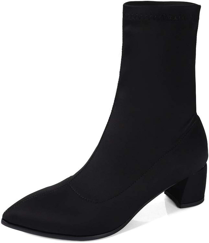 Wetkkiss Plus Storlek Mode Sock stövlar Tjocka Tjocka Tjocka high klackar Ankle Booslips Lycra Sexiga Kvinnopassor Lady Autumn Winter stövlar  utlopp