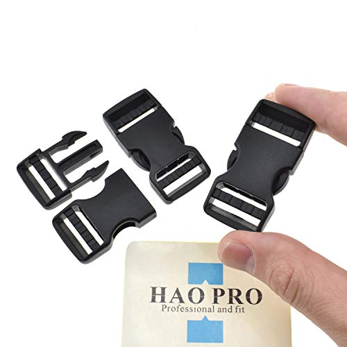 SGH Pro Quick Side Release Buckles 0.75 Wide Dual Adjustable Clips Snaps No Sewing Heavy Duty Plastic 3 Pack Replacement for Nylon Strap Webbing Survival Paracord Backpack Fanny Pack Waist Strap