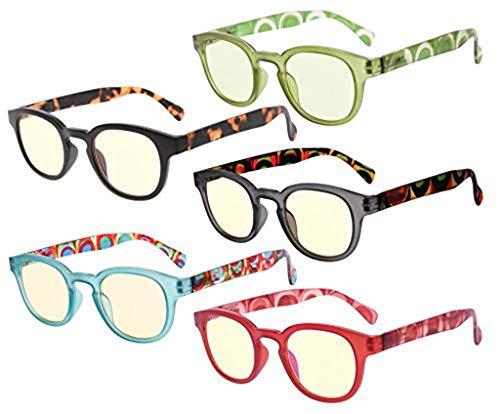 Eyekepper 5-Pack Lesebrille mit UV Schutz,Blendschutz,Antireflex Lesegeräte mit Gelb getönte Gläser +0.5