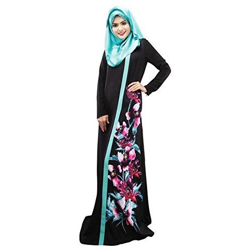 Lazzboy Muslimische Frauen Druck Multicolor Pocket Middle East Long Dress Hijab Schal Lange Kopftuch Feste Schals Arabien Gebet Kleid Kleidung Kleider Muslim(Schwarz,M)