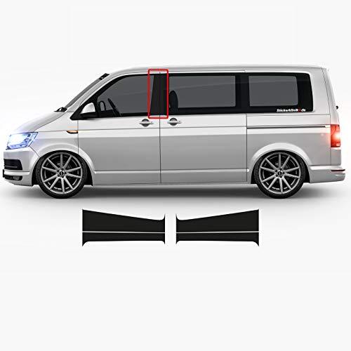 1A Style Sticker Bus B-Säulen Aufkleber MATT SCHWARZ passend für VW T5 und T6, 4 Teiliges Set für Fahrer und Beifahrer Seite