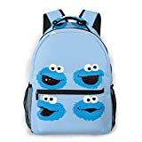 Zhenzhan Women's Cookie Monster Head Casual Shoulders Bag Tablet PC Stylish School Backpacks For College